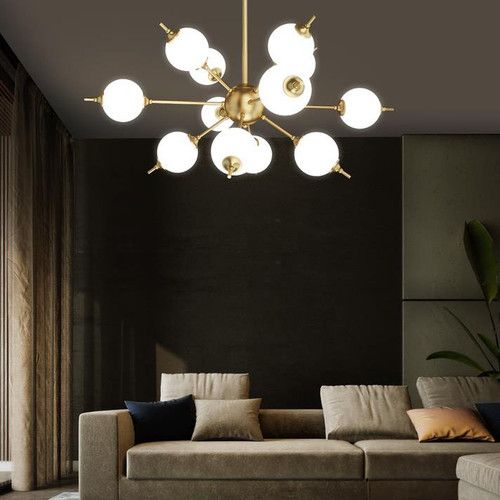 Nordic Molecular LED Chandelier Lights Copper Pole Stable Living Room