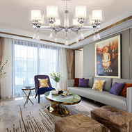 Post-modern LED Chandelier Light Chrome Metal Living Room Bedroom from Singapore best online lighting shop Horizon Lights