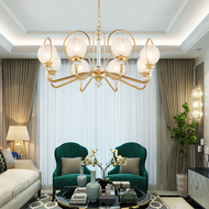 Creative Copper Luxurious LED Chandelier Light American Living Room Bedroom