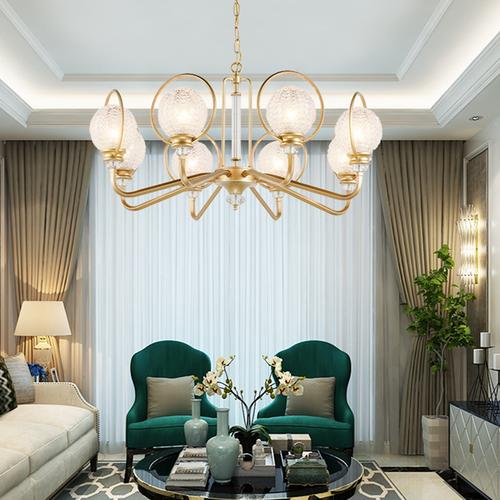 Creative Copper Luxurious LED Chandelier Light American Living Room Bedroom