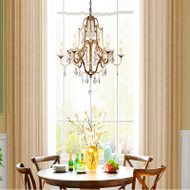 American LED Chandelier Personality Retro Metal Crystal Living Room Dining Room