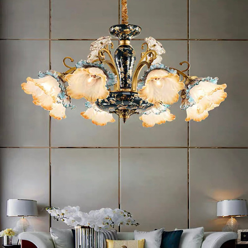 European LED Chandelier Luxurious Personality Copper Glass Living Room Dining Room
