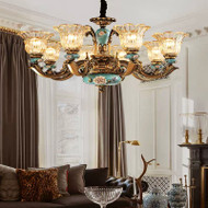 European LED Chandelier Luxurious Retro Metal Glass Dining Room Bedroom