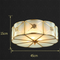 European LED Ceiling Light Romantic Retro Copper Glass Dining Room Bedroom