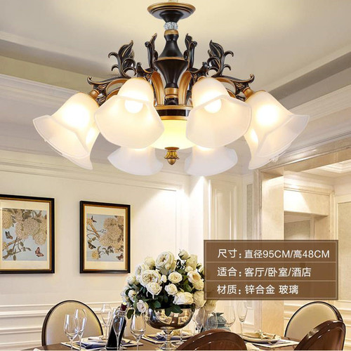 American Pastoral LED Chandelier Lights Zinc Alloy Pole Glass Shade Dining Room