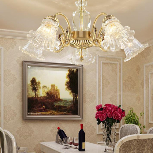 European LED Chandelier Lights Elegant Crystal Flowers Shade Dining Room