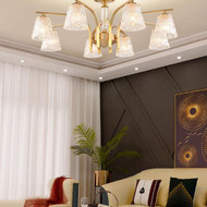 Nordic LED Chandelier Lights Copper Crystal Pole Durable Glass Lampshade Living room