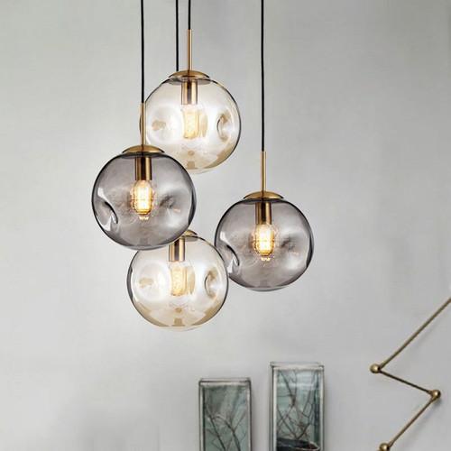 Modern LED Pendant Light Glass Lumpy Ball Bedroom Dining Room Decor