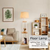 Modern LED Floor Lamp Shelf Table Practical Living Room Illumination