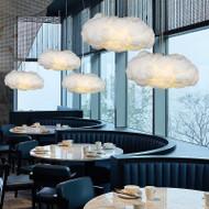 Modern and Nordic LED Pendant Light PVC Space Cotton Clould Shape Living Room Coffee Shop Decor