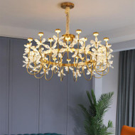 Butterfly Flower , Metal / Copper Crystal LED Chandelier Light for Modern and Nordic