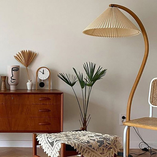Pleated Skirt Girl , Wood Metal Cloth LED Floor Lamp for Vintage and Nordic