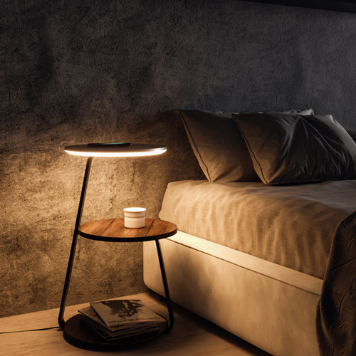 Acrylic Aluminum LED Floor Lamp Wireless Charge Bedside Table for Modern and Italian