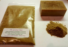 The Gourmet Rose  ***We also sell this in 1 lb increments.  Please ask and we'll list it for you!  1 oz Olive Leaf Powder (We have added 1 Tablespoon in 1 lb of our natural Low Sweat melt pour soap so you can see how it looks)  Olive leaf powder can be used as a natural colorant in soap; creating a warm brown color.  Olive leaf is high in antioxidants, vitamins, and minerals; wonderful addition to natural cosmetics.  Olive leaf powder contains flavonoids and oleanolic acid, which stimulate the production of collagen, and helps to heal wounds.  This gives a beautiful earthy look to your soap!  FOR USE IN:  Olive leaf powder can be added to bath tea recipes  Olive leaf powder can be infused in oil and added to lip balm recipes  Olive powder can be added to facial masks to improve cell regeneration and to moisturize the skin.  Olive powder can be infused and added to lotion, cream, ointment recipes. Olive leaf powder can be added to soap Can be infused and added to hair conditioner to promote healthier hair, and to moisturize the hair. Can be added to bath bomb recipes Olive leaf powder can be infused in massage oils  Olive leaf powder can be used in facial toner recipes Olive powder can be used in scrubs.