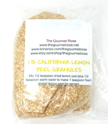 1 lb DRIED LEMON PEEL GRANULES Zest CULINARY FOOD GRADE Herbs Citrus Rind Baking Cooking Citrus Limon Pound