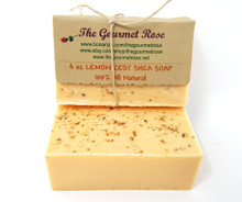 4 oz LEMON ZEST SHEA BUTTER SOAP 100% All Natural Gentle Glycerin Bath Body Bar Made With Essential Oils