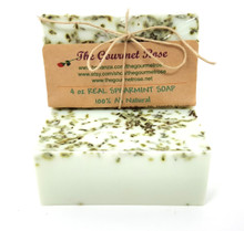4 oz REAL SPEARMINT SOAP Shea Butter 100% All Natural Glycerin Soap Bath Body Bar Made With Essential Oils & Spearmint Menthe Mint Leaves BUY 5 GET 1 FREE