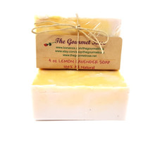 4 oz LEMON LAVENDER SOAP Shea Butter 100% All Natural Glycerin Bath Body Bar Made With Essential Oils ECO Friendly Biodrgradable Vegan BUY 5 GET 1 FREE