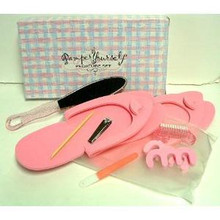 PINK SPA PEDICURE SET Pamper Yourself Kit Feet Foot File Nail Brush Clippers Slippers