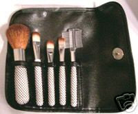 5 pc TRAVEL MAKEUP BRUSH Set Lip Eye Shadow Blush Powder Brow