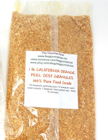 1 lb GROUND ORANGE PEEL RIND ZEST Granules Baking Cooking Culinary FOOD GRADE