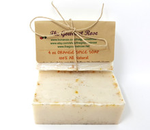4 oz ORANGE SPICED TEA SOAP Oatmeal Spice 100% All Natural Oats Glycerin Bath Body Bar Made With Essential Oils