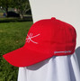 6 Panel soft ball cap with metal adjustment clamp for a snug fit.
