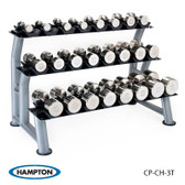 Chrome Beauty Grip 12 Pair Set, with one 3T-CD-12 rack