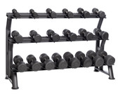Hampton Dura-Pro 10 Pair Dumbbell Set (5-50 lbs in 5 lb increments) with Horizontal Racking Club Pack