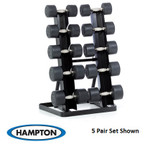 Hampton Dura-Pro Dumbbells 8 Pair Set (2.5 - 25 lbs in 2.5 lb increments) with Vertical Racking Club Pack