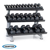 Hampton Urethane Dura-Bell 23 Pair Horizontal Racking Dumbbell Set with two 3T-FLT Rack