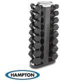 Hampton Urethane Dura-Bell 8 Pair Vertical Racking Dumbbell Set with one V-2-8 Rack