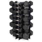 Hampton Urethane Dura-Bell 13 Pair Vertical Racking Dumbbell Set (2.5 - 50 lbs in 2.5 & 5 lb increments) with one V-4-13 Rack