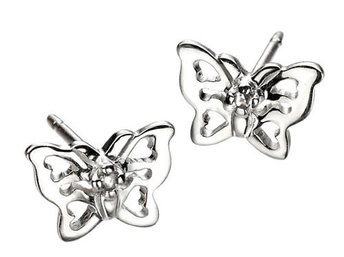 Girls silver butterfly earrings E3910 D for Diamond