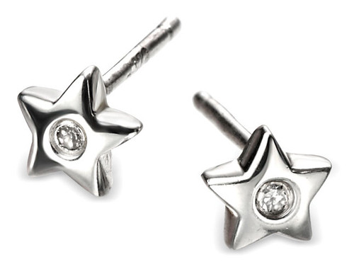 Girls Silver Diamond Star Earrings - D for Diamond