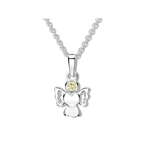 Pale green cz sparkly angel necklace for girls