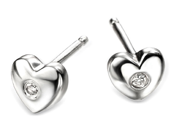 D for Diamond Silver Heart Stud Earrings - E572 - Diamond Kids a0ec9ccce06f
