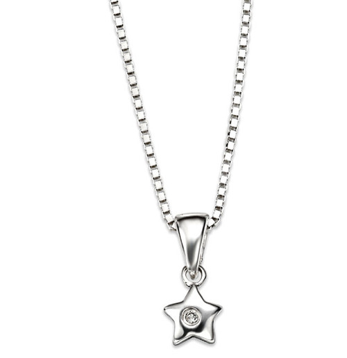 D for Diamond Silver Star Pendant - P616