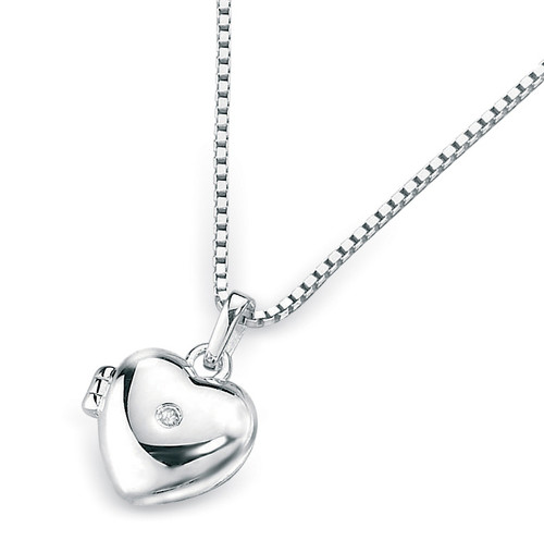 D for Diamond Silver Heart Locket Pendant - P2549