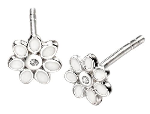 D for Diamond White Enamel Flower Earrings for Girls