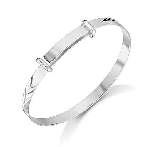 Children's Sterling Silver Feathered Baby Bangle