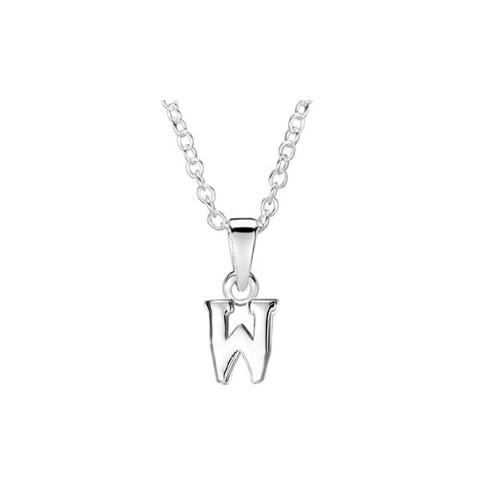 Girls Silver Initial Pendant - W