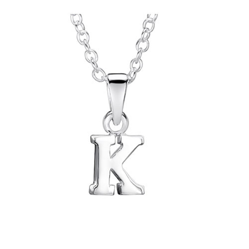 Girls Silver Initial Pendant - K