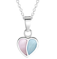 Girls pink and blue mother of pearl silver heart necklace