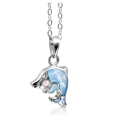 Girls silver dolphin necklace