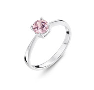 Girls Pale Pink CZ Silver Ring