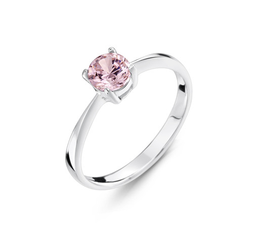 Girls Pale Pink CZ Silver Ring