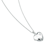 P2548 D for Diamond Silver Heart Locket