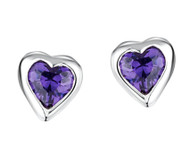 Jo For Girls Amethyst CZ Heart Stud Earrings