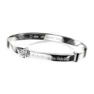 D for Diamond I Believe in Fairies Silver Bangle B4315